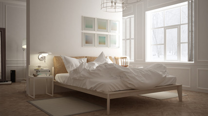 Scandinavian bedroom, white minimalistic design, hotel spa resor