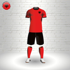 eps 10 vector football Albania team player uniform template. National colors sportwear. Albanian flag button chrome ring. Brick wall background
