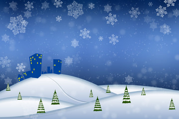 Abstract winter landscape with blue sky and snowflakes