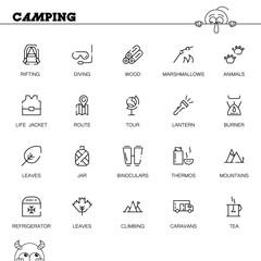 Camping flat icon set.