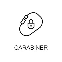Carabiner flat icon or logo for web design.