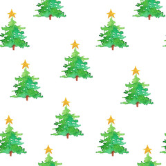 Christmas trees and stars on a white background. Seamless patter