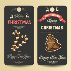 Two vector banners with Christmas gingerbread and greeting inscription. Merry Christmas and Happy New Year.