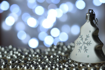 Christmas decorations with bokeh background