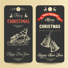Festive banners with greeting inscription Merry Christmas and Happy New Year and hand-drawn symbols of Christmas. Sketch. Happy Holidays. Vector