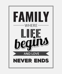 """Retro motivational quote. """" Family where life begins and love ne"""