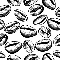 Hand drawn coffee beans set. Vector illustration