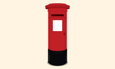British postbox - Red mail box / England London Illustration