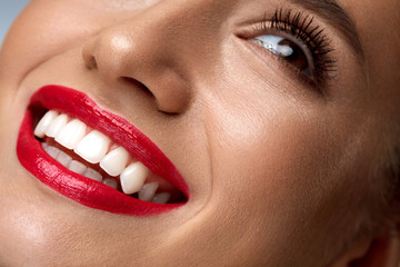 Beauty Fashion Woman Face With Perfect White Smile, Red Lips