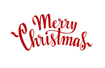 Merry Christmas. Hand drawn lettering on white background
