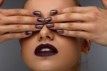 Close Up Fashion Woman With Professional Makeup And Nails