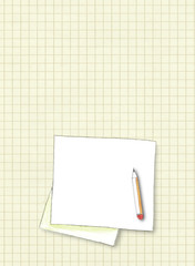 Hand drawing watercolor illustration of blank square frame with pencil on old squared paper background