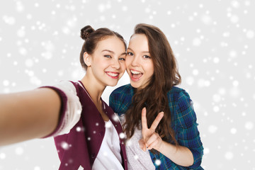 happy friends taking selfie and showing peace