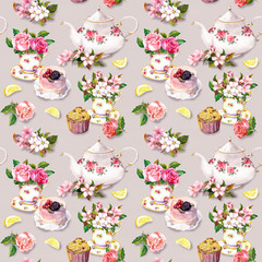 Teatime pattern: flowers, teacup, cake, teapot. Watercolor. Seamless background