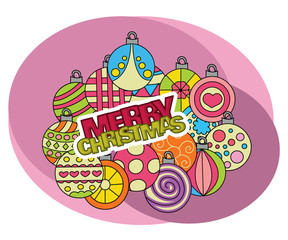 Merry Christmas background design with decoration balls elements. Greeting card doodle vector illustration with lettering. Retro colors.