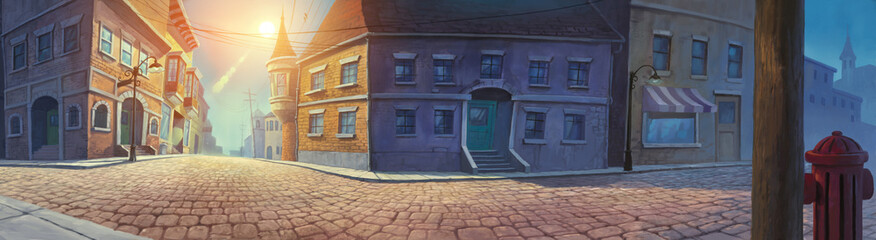Old town panorama digital concept painted illustration