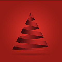 Simple red ribbon in a shape of Christmas tree. Merry Christmas theme. 3D vector illustration with dropped shadow and red gradient background.