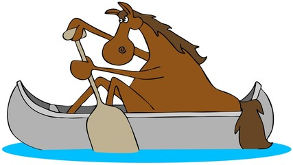 Illustration of a red colored horse paddling an aluminum canoe.