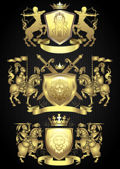 Knight gold heraldic set