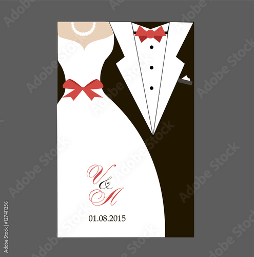 Bride And Groom Wedding Invitation Card Black White With Red Ribbon