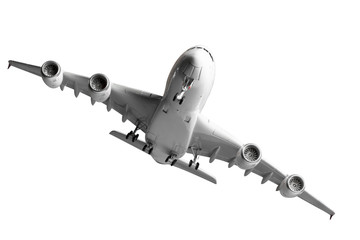 under view of commercial airplane takeoff isolated on white back