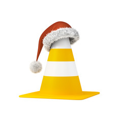 traffic cone the a christmas hat