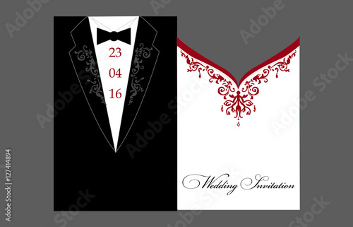 Bride And Groom Wedding Invitation Tuxedo And Dress A Stylized