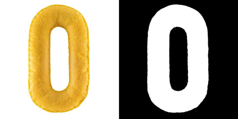 Number 0. Hand made number Zero from yellow felt. Set of numbers from colorful felt isolated on white with alpha mask