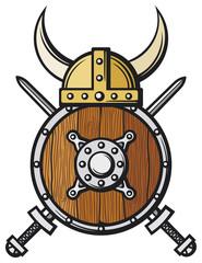 viking helmet, round wooden shield, and crossed swords