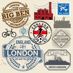 Travel stamps or symbols set, England and United Kingdom