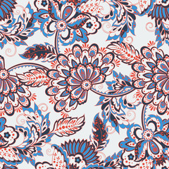Seamless floral pattern in Damask style. Vintage vector illustration.