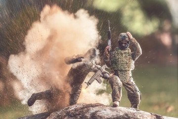 Soldier avoiding an explosion