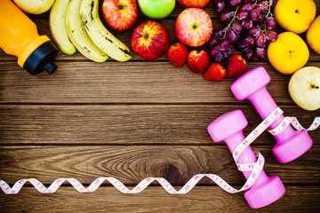 Fitness, healthy fruits, diet and active lifestyles Concept, dum