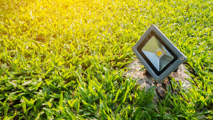 Garden light on grass background