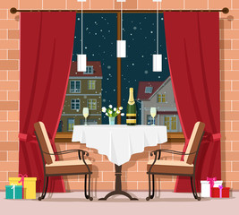 Romantic winter evening concept. Stylish vintage restaurant table with chairs. Christmas and New Year celebration in restaurant interior. Vector illustration.