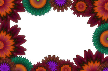 White background with flowered frame