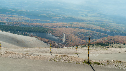 The road to the summit of Mont Ventoux  in The Provence, Souther