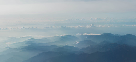 Aerial view of Mount from airplane , Kyushu, Japan