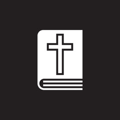 Holy Bible book icon vector, filled flat sign, solid pictogram isolated on black, logo illustration