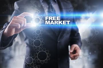 Businessman selecting free market on virtual screen.