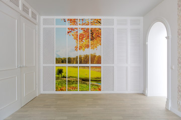 Empty room interior is designed in minimalist