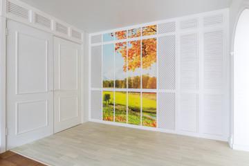 Minimalistic light room design with image autumn