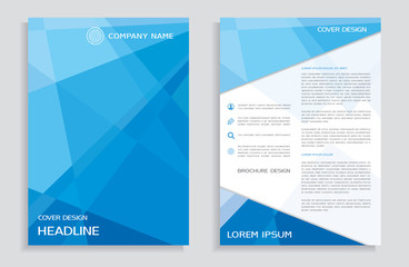 Brochure design template - cover - annual report - flyer with blue polygons background  Wall mural