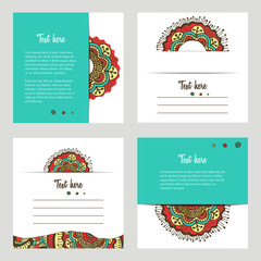 Set of cards with oriental hand drawn motifs. Vector backgrounds for greeting card or invitation.