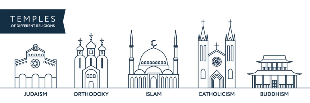 Temples of world different religions. Infographics. Religious buildings