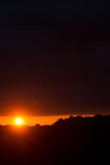 Panorama of Amazing Beautiful Sunset Sunrise Over Dark Landscape Silhouette