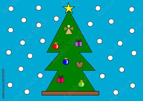 geschm ckter weihnachtsbaum stockfotos und lizenzfreie vektoren auf bild 127422884. Black Bedroom Furniture Sets. Home Design Ideas