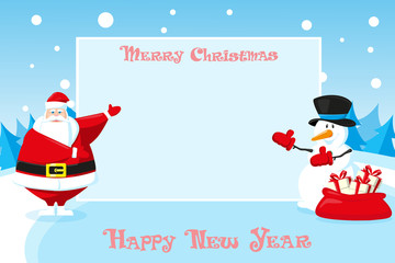 Merry Christmas and Happy New Year landscape. Cute Santa Claus and Snowman outdoor with holiday banner on blue background. Concept design poster, banner, flyer or greeting card. Vector. Cartoon style
