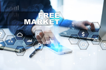 Businessman is working in office, pressing button on virtual screen and selecting free market