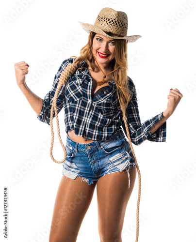 quotlucky sexy blonde woman cowgirlquot stock photo and royalty